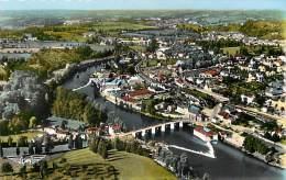 dept div-  haute vienne  -ref- V716 - saint junien - st junien - vue d ensemble - le pont notre dame - vue aerienne -