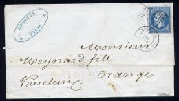 Lettre De Paris Pour Orange 1860 Cachet Lettre Bâton C2 & Cachet 1510 - 1849-1876: Periodo Classico