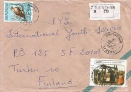Senegal 1985 Ziguinchor Eagle Bird Of Prey Rural Woman Registered Cover Via Egypt - Senegal (1960-...)