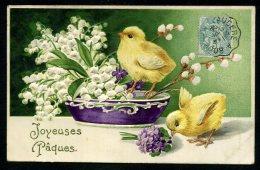 Carte Gaufrée De 1906 - Embossed - Poussins - Pâques