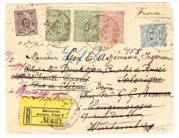 R-Brief 1898 Von Bursa Nach Salonich Nachges. Langenargen D, Pont De Cherny F Und Retour Nach Brousse - 1858-1921 Empire Ottoman