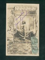 Enfant Petite Fille Fillette Grenouille Toile D' Araignée Nenuphar Jonc Mare Surrealisme Art Nouveau - Enfants