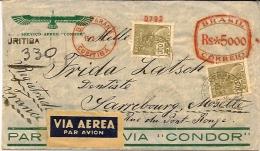 Enveloppe Et Courrier 1935 Brésil Vers La France Affranchi ROUGE 5000+2*300 Reis Magnifique - Entiers Postaux