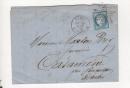 Lettre Paris Etoile 36 Bt Voltaire - 1849-1876: Classic Period