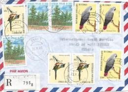 Congo 1990 Pointe Noire Pitchou Bird Grey Parrot Eucalyptus Plantation Desertification Reforestation Registered Cover - Congo - Brazzaville