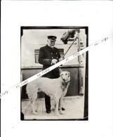 HSM TITANIC - clich� de presse - Le capitaine SMITH commandant le TITANIC et son chien favoris