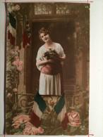 Guerre De 1914, Femme, Fleurs, Drapeaux Soldat De Cahors - Guerre 1914-18