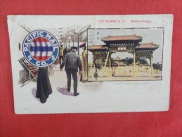 S.S. Manchuria  Pacific Mail  Co== Palace Pekin China  As Is Crease, Paper Attached To Back Of Card   Ref 1606 - Steamers