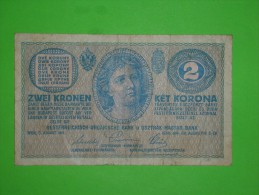 Austria Hungary Monarchy,zwei Kronen,ket Korona,2,banknote,paper Money,bill,geld,dim.112x68mm,vintage - Oesterreich
