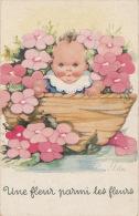 """ENFANTS - BÉBÉS - Jolie Carte Fantaisie Bébé Dans Corbeille De Fleurs """"Une Fleur Parmi Les Fleurs """" Signée ILDA - Otros Ilustradores"""