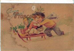 Illustration Petite Fille Et Petit Garçon Enfants Et Luge Traineau - Sled - Bonne Année - 1940 - 2 SCANS - Enfants