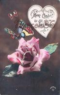 Illustration Fantaisie Papillon Sur Une Rose - Butterfly - Je T'aime - I Love You - Amour -  2 SCANS - Papillons