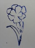 Ancien Tampon Scolaire Bois Fleur BLEUET Ecole French Antique Rubber Flower CORNFLOWER - Scrapbooking