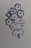Ancien Tampon Scolaire Bois Fleur MYOSOTIS Ecole French Antique Rubber Flower Forget-me-not - Scrapbooking