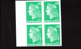 Cote : 88 ++ € -  Marianne CHEFFER - Bloc De 4  NON DENTELE - 1611 Bdf Superbe** - 1967-70 Marianne De Cheffer