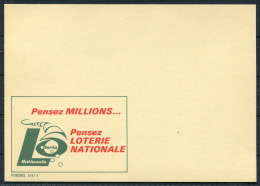 1970s Belgium Advertising Stationery Postcard Essay - LOTERIE NATIONALE Publibel 2541 F - Stamped Stationery