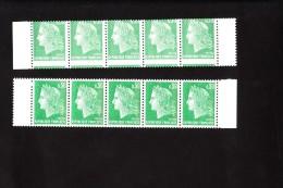 Cote : 250 € -  Marianne CHEFFER - Variété Piquage à Cheval En Bande De 5 + Normal 1611 Rare ** - 1967-70 Marianne Of Cheffer