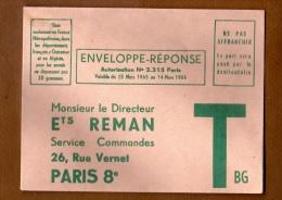 ENVELOPPE RÉPONSE VERTE VALABLE  15 MARS 1965 A MARS 1966 - Entiers Postaux