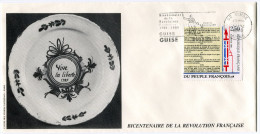 FRANCE THEME REVOLUTION FRANCAISE ENVELOPPE OBLITERATION 02 GUISE 31-12-89 AISNE AVEC FLAMME .....CAMILLE DESMOULINS - Franz. Revolution