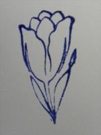 Ancien Tampon Scolaire Bois Fleur TULIPE Ecole French Antique Rubber Flower TULIP - Scrapbooking