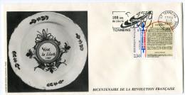 FRANCE THEME REVOLUTION FRANCAISE ENVELOPPE OBLITERATION TONNEINS 8-1-1990 AVEC FLAMME 200 ANS DE LIBERTE - Franz. Revolution