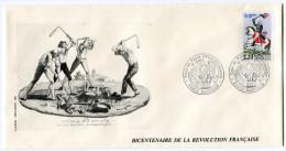 FRANCE THEME REVOLUTION FRANCAISE ENVELOPPE OBLITERATION PARIS BASTILLE 14 JUILLET 1989 TOUR DE PARIS REVOLUTIONNAIRE - Franz. Revolution