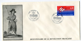 FRANCE THEME REVOLUTION FRANCAISE ENVELOPPE OBLITERATION 1789 MARINE 1989 17-18 JUIN 1989 75200 PARIS NAVAL - Franz. Revolution