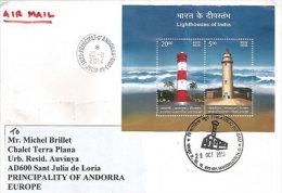 INDE. Phares De Mahabalipuram (Tamil Nadu) Et De Alappuzha (Kerala). Un BF Sur Lettre Adressée En Andorre - Phares