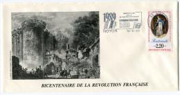 FRANCE THEME REVOLUTION FRANCAISE ENVELOPPE OBLITERATION 60 NOYON 16-8-1989 OISE AVEC FLAMME 1989 BICENTENAIRE.......... - Franz. Revolution