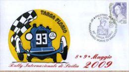 BUSTA FILATELICA CIRCOLO TERMINI 93 TARGA FLORIO 2009 PROVA STAMPA 24/25 Variante Blu Rara - Automobilismo
