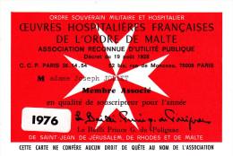 Ordre De Malte - Carte De Souscripteur - 1976 - Documentos Antiguos