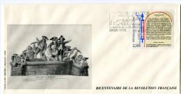 FRANCE THEME REVOLUTION FRANCAISE ENVELOPPE OBLITERATION 87 MAGNAC-BOURG 16-5-90 AVEC FLAMME LIBERTE-EGALITE-FRATERNITE - Franz. Revolution