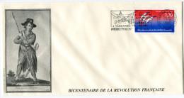 FRANCE THEME REVOLUTION FRANCAISE ENVELOPPE OBLITERATION 55 VARENNES EN ARGONNE 21-5-90 AVEC FLAMME 21 JUIN 1791........ - Franz. Revolution