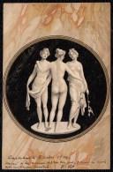 1904 CARTE ART NOUVEAU ALLEMAND - 3 FILLES NUS SE TENANT - SUR FOND MARBRE - DORURE - Illustrateurs & Photographes
