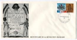 GABON N°664 THEME REVOLUTION FRANCAISE ENVELOPPE 1er JOUR OBLITERATION LIBREVILLE 7 JUIL 89 PHILEXFRANCE 89 - Franz. Revolution