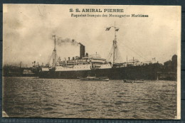 1923 France S.S. Amiral Pierre Paquebot Postcard Marseille - Reunion No 4 - Storia Postale