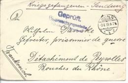 De Bonn Pour Prisonnier Allemend Au Camp De Peyrolles (B.d.R.) - Marcophilie (Lettres)