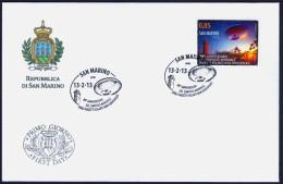 """2013 SAN MARINO """"20° ANNIVERSARIO DEL SIMPOSIO MONDIALE SUGLI UFO"""" SINGOLO FDC - FDC"""