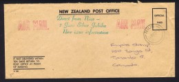 NIUE  Official Paid Air Mail To Canada  - New Stamp Issue Information - Niue