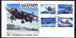 ASCENSION  1883  200th Ann. Manned Flight   War Planes  Set Of 4 On Unaddressed FDC - Ascension