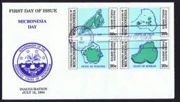 MICRONESIA   1984  Inauguration Of Postal Service  Maps  Sc 1-4 Unaddressed FDC - Micronesia