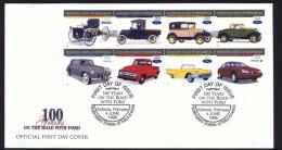 MICRONESIA   1996  Ford Motors Centennial Ford, Lincoln, Thunderbird, Mercury Cars And Trucks Se-tenant Sheet Of 8 FDC - Micronesia