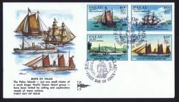 PALAU  1984 Sailing Ships 40 Cent - 4 Different Se-tenant Sc 51-4  FDC - Palau