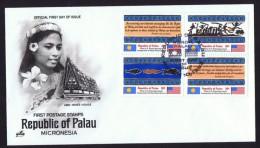 PALAU  1983  Inaugration Of Postal Service   Constitution, Symbols  Sc 1-4  Unaddressed FDC - Palau