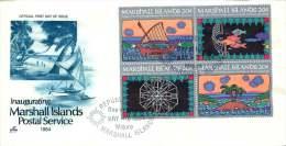 MARSHALL ISLANDS  1984  Inauguration Of Postal Service   Symbols Sc 31-4 FDC - Marshall Islands