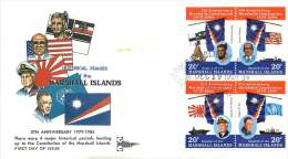 MARSHALL ISLANDS  1984   Constitution 5th Anniversary  Block Of 4 Different Sc 59-62  FDC - Marshall Islands