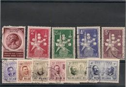 BELGIQUE Années 1956/57 N°Y/T : 1008/1010-1013/1018 Oblitérés