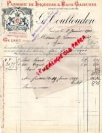23 - GUERET - FACTURE G. COULLOUDON-FABRIQUE LIQUEURS & EAUX GAZEUSES- LE TSAR- CROZANT-1900 - France