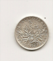 5 Francs Type Semeuse Argent Annee 1967 - France