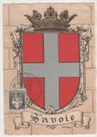 CARTE MAXIMUM BLASON DE  CHAMBERY SAVOIE - JOURNEE DU TIMBRE 1946 ( COMPLEMENT  D AFFRANCHISSEMENT ARC DE TRIOMPHE ) - Maximum Cards